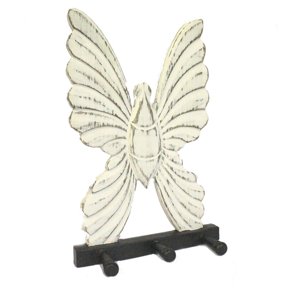 Home > Home > Home Misc. > Wooden Coat Hanger - Butterfly Whitewash