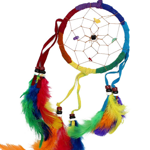 Home > Bedroom > Dream Catchers > 6x Bali Dreamcatchers - Medium Round - Rainbow