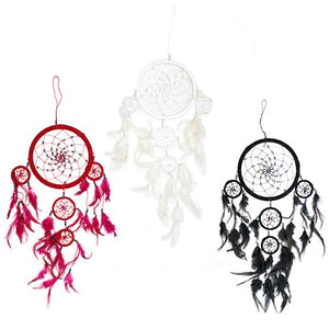 Home > Bedroom > Dream Catchers > 3x Bali Dreamcatchers - Large Round - Black/White/Red