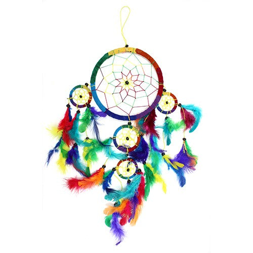 Home > Bedroom > Dream Catchers > 3x Bali Dreamcatchers - Large Round - Rainbow