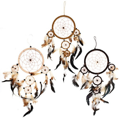 Home > Bedroom > Dream Catchers > 3xBali Dreamcatchers - Large Round - Cream/Coffee/Choc