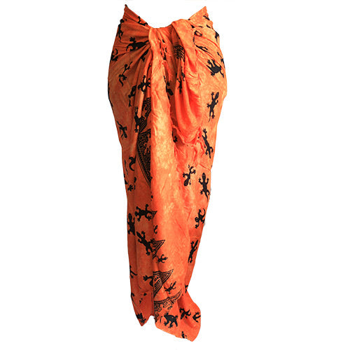 Fashion Accessories > Female Accessories > Sarongs > Bali Gecko Sarong - Orange