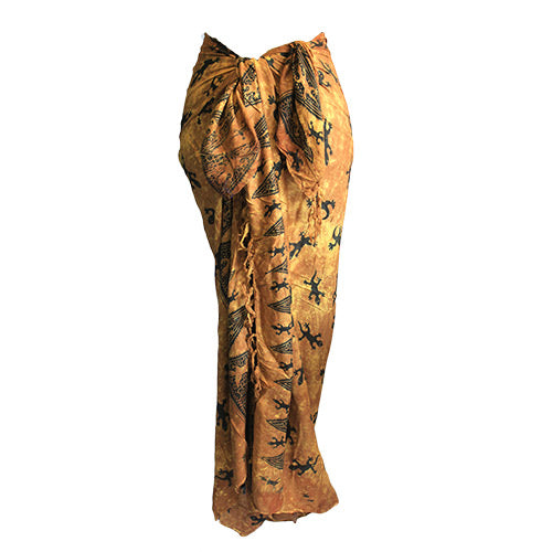 Fashion Accessories > Female Accessories > Sarongs > Bali Gecko Sarong - Chocolate