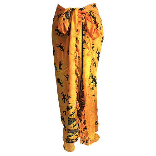 Fashion Accessories > Female Accessories > Sarongs > Bali Gecko Sarong - Yellow