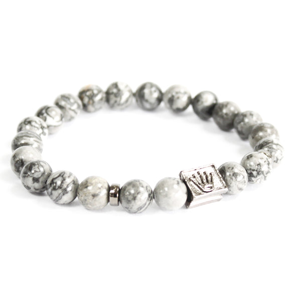 Jewellery > Bracelets, Wristbands & Charms > Bracelets > 3x Crown Ingot / Grey Agate - Gemstone Bracelet