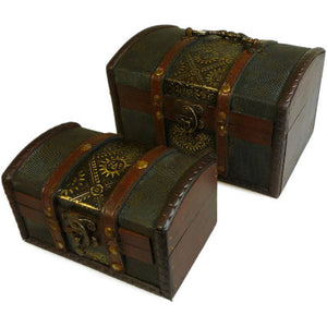Home > Home Décor > Boxes > Set of 2 Colonial Boxes - Metal Embossed