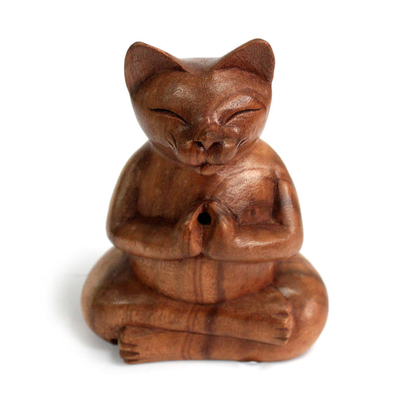 Gifts > Gifts For Her > Wooden Carved Incense Burners - Lrg Yoga Cat