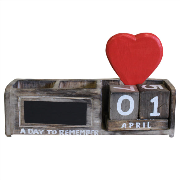 Office & Stationery > Stationery > Pen Holders > Day to Remember pen holder - Natural & Red Heart