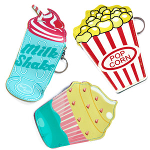 Fashion Accessories > Bags & Backpacks > Pouches > Fun Money Pouch - PACK OF 3 - ONE OF EACH DESIGN - Food At The Movies