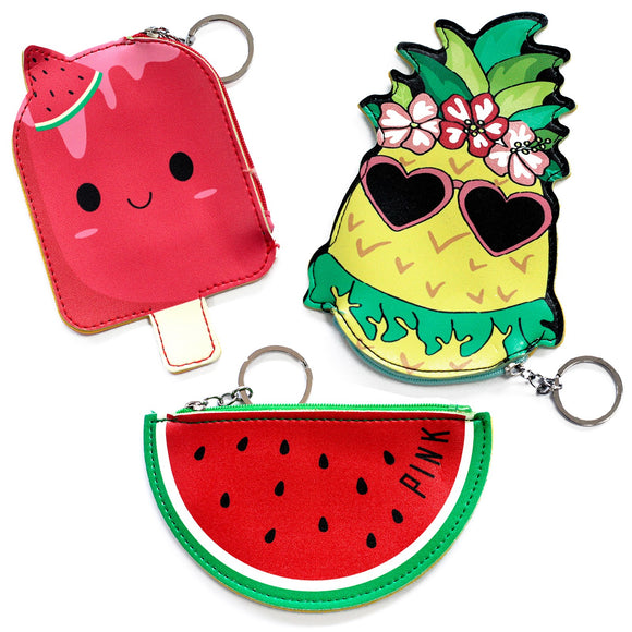 Fashion Accessories > Bags & Backpacks > Pouches > Fun Money Pouch -PACK OF 3 - ONE OF EACH DESIGN - Fruity Fun