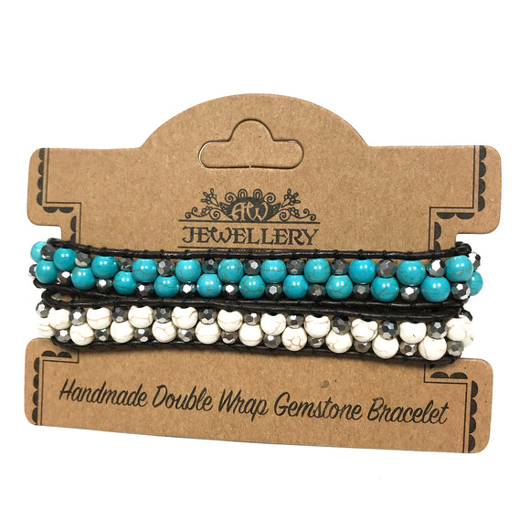 Jewellery > Bracelets, Wristbands & Charms > Bracelets > Double Wrap Bracelet - 50/50 - Turquoise & White Agate