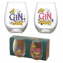 Kitchen > Glassware > Tumblers > Gin the Mood Set of 2 Glass Tumblers - Gin Slogans