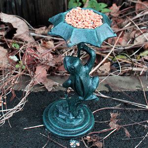 Garden > Bird Feeders > Cast Iron Feeders > Cast Iron Bird Feeder - Frog - Verdigris