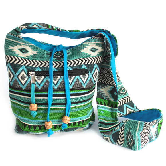 Fashion Accessories > Bags & Backpacks > Sling Bags > Jacquard Bag - Teal Sling Bag