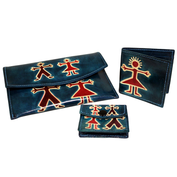 Fashion Accessories > Female Accessories > Purses > Leather Purse Set - Boy & Girl - Teal