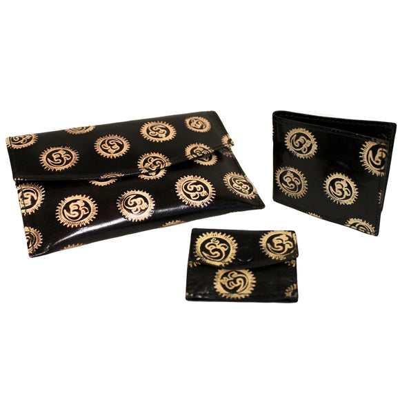 Fashion Accessories > Female Accessories > Purses > Leather Purse Set - Om - Black