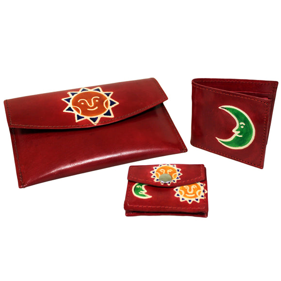 Fashion Accessories > Female Accessories > Purses > Leather Purse Set - Sun & Moon - Red