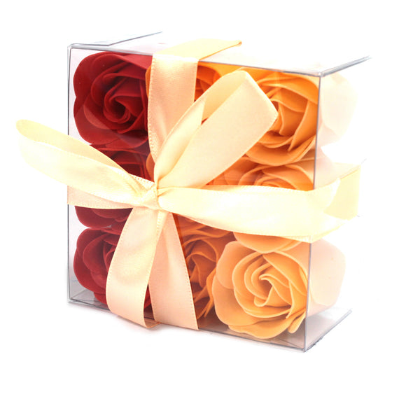 Gifts > Gifts For Her > 1x Set of 9 Soap Flower Box - Peach Roses