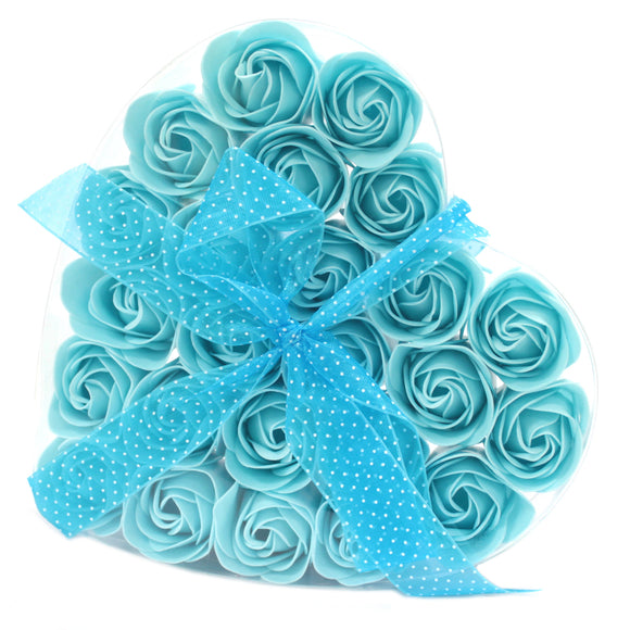 Gifts > Gifts For Her > 1x Set of 24 Soap Flower Heart Box - Blue Roses