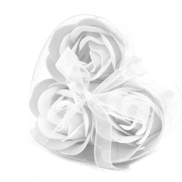 Gifts > Gifts For Her > 1x Set of 3 Soap Flower Heart Box - White Roses