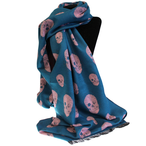 Fashion Accessories > Hats & Scarves > Scarves > Unisex Rich Kid Skull Scarf - Teal & Pink