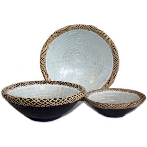 Home > Home Décor > Singing Bowls > 1x Set of Three Rattan Mosaic Bowls - White Marble