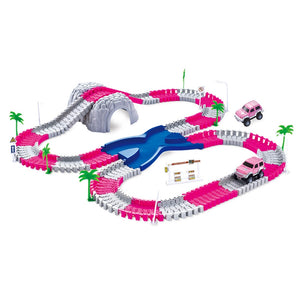 144 Piece Pink Toy Car Track Set