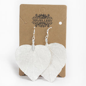 Gifts > Gifts For Her > Earrings - Heart Leaf - Silver