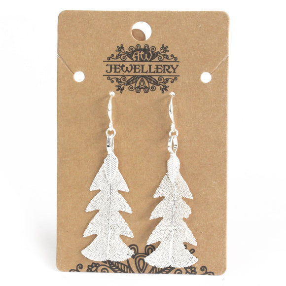 Gifts > Gifts For Her > Earrings - Festive Fir Leaf - Silver