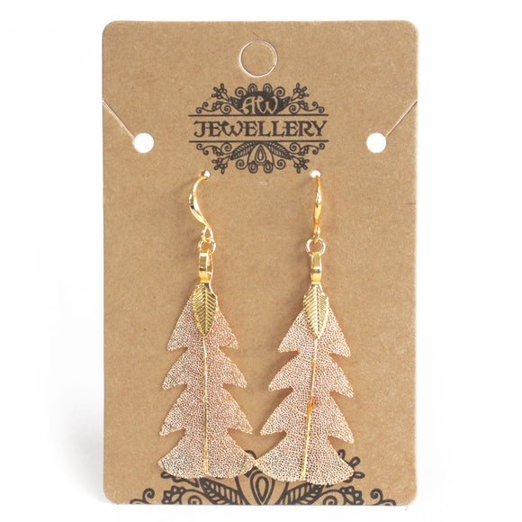 Gifts > Gifts For Her > Earrings - Festive Fir Leaf - Gold