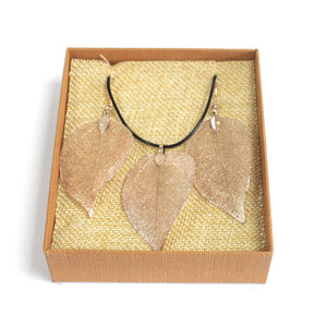 Gifts > Gifts For Her > Necklace & Earring Set - Bravery Leaf - Pink Gold