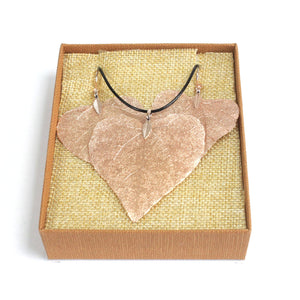 Gifts > Gifts For Her > Necklace & Earring Set - Heart Leaf - Pink Gold