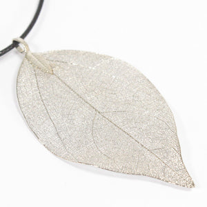 Gifts > Gifts For Her > Necklace - Bravery Leaf - Silver