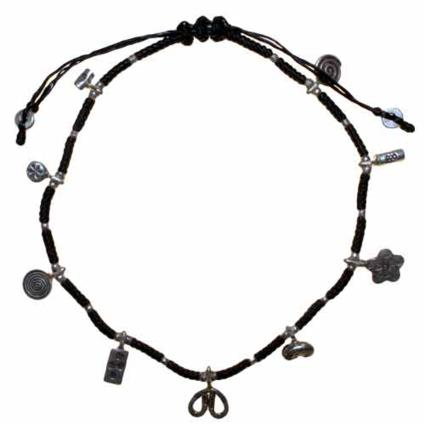 Gifts > Gifts For Her > Black Waxed & Silver Ankle Chain D4