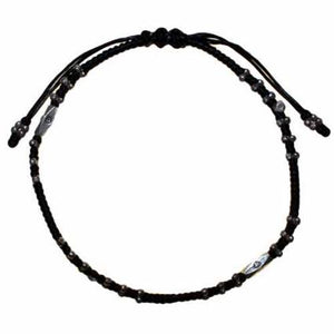 Gifts > Gifts For Her > Black Waxed & Silver Ankle Chain D6