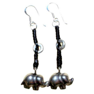 Gifts > Gifts For Her > Black Waxed & Silver Elephant Earring