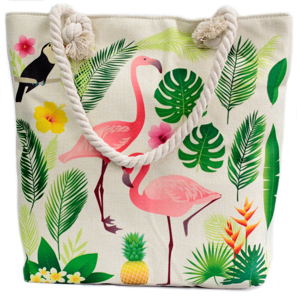 Fashion Accessories > Bags & Backpacks > Rope Handle Bags > Rope Handle Bag - Flamingo & More