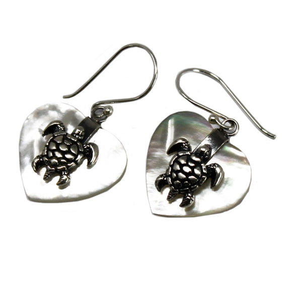 Jewellery > Earrings > Earrings > Shell & Silver Earrings - Sea Turtle