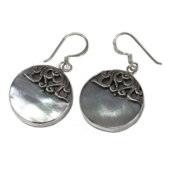 Jewellery > Earrings > Earrings > Shell & Silver Earrings - Classic Disc