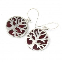 Gifts > Gifts For Her > Tree of Life Silver Earrings 15mm - Coral Effect