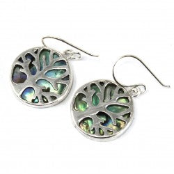 Gifts > Gifts For Her > Tree of Life Silver Earrings 15mm - Abalone