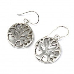 Gifts > Gifts For Her > Tree of Life Silver Earrings 15mm - Mother of Pearl