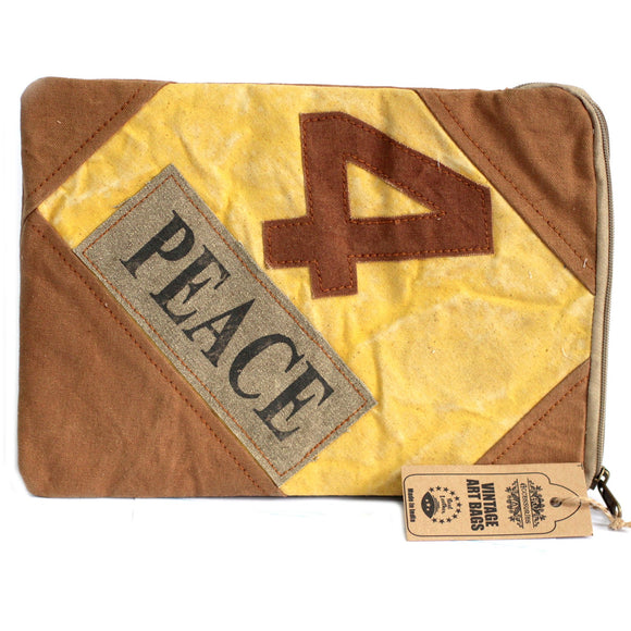 Fashion Accessories > Bags & Backpacks > Pouches > Vintage Bag - Tablet Pouch-4 Peace
