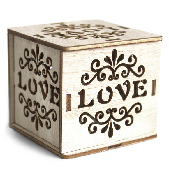 Home > Home Décor > Boxes > Square Wooden LED Light Shadow Box - Love