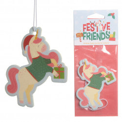 Occasions > Christmas > Christmas > 6x Christmas Unicorn Festive Friends Cookie Air Freshener