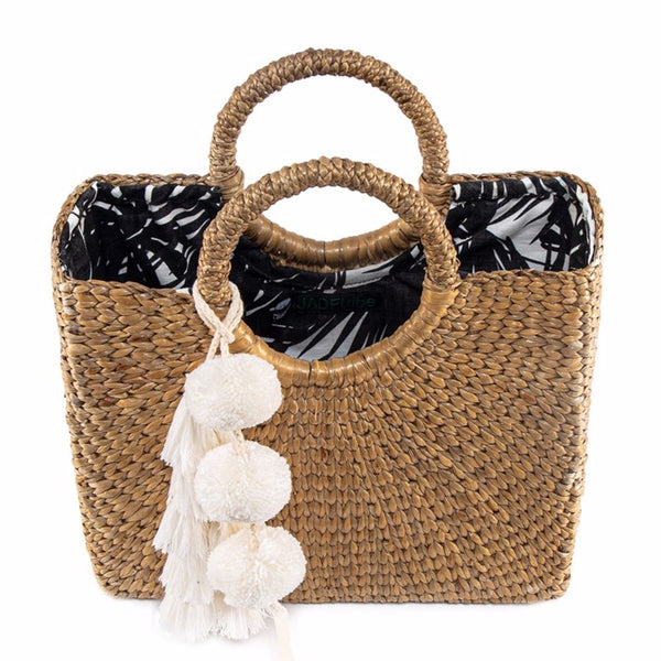 Aloha Basket Small Sq Tassel Pom White