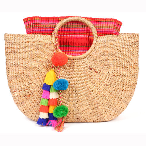 Beach Basket Large Tassel Multi/Pink