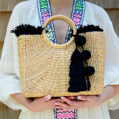 Square Basket Black Fringe and Tassel