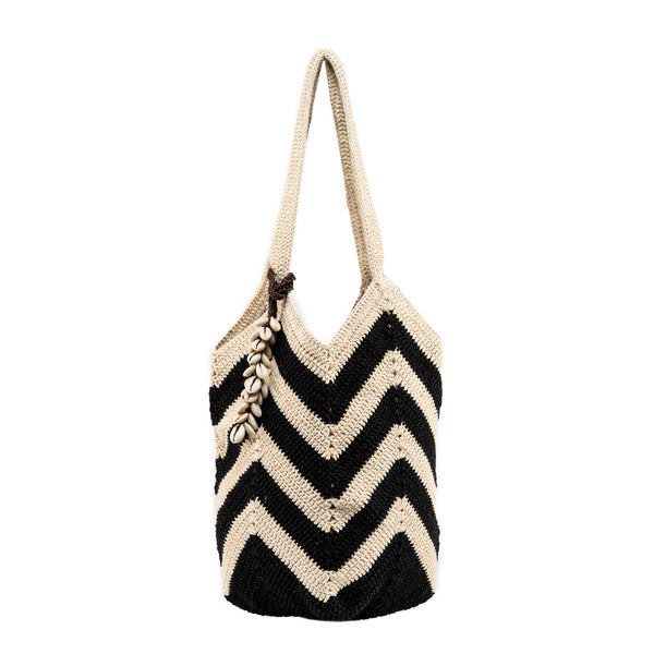 Maya Crochet Tote Black Wide Shell Tassel