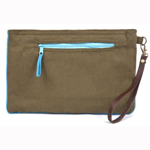 Eliz Canvas Clutch Army